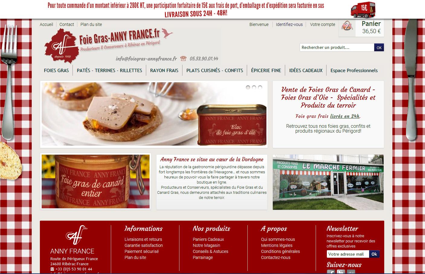 Site ecommerce foie gras